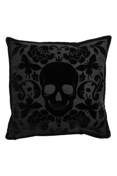 Cushion cover in velvet with a burnout pattern. Concealed zip at lower edge. Size 16 x 16 in. Home Design, Skull Pillow, Goth Home, Skull Decor, Velvet Cushions, Floor Cushions, Chair Cushions, Gothic Home Decor, Gothic House