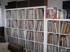 "Vinyl Collection shelf. We could start with a four square section that could double as a ""wall table"""