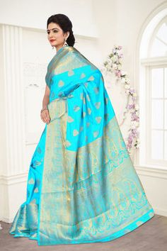 Buy Viva N Diva Sky Blue Colored Banarasi Silk Saree 21112 online at best prices. Get discount on Silk Sarees, Sarees with home delivery from Fashionnow.