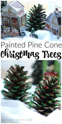 We had so much fun with these kid made painted pine cone christmas trees! Kids Crafts | Kids Activities | Christmas Crafts