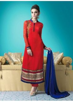 Party wear Red Georgette  Salwar suit -69440