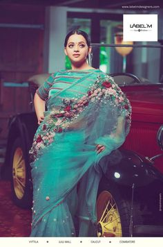The Perfect Cocktail of Art, Colors and Fabric - Rever collections by Label'M - Tikli - India's Leading Fashion and Beauty Magazine Trendy Sarees, Stylish Sarees, Fancy Sarees, Party Wear Sarees, Saree Blouse Patterns, Saree Blouse Designs, Sari Blouse, Saree Trends, Net Saree
