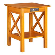 Atlantic Furniture Lexi Caramel Latte Wood Printer Stand with USB Charging Station