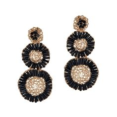 Crochet Earrings in Black and Gold by Alessandra Schmidt