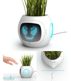 """The Digital Pot measures soil conditions, temperature, humidity, and water; it then calculates the requirements of the potted plant and displays the mood of the plant using smileys and other icons on the front display. Geek Gadgets, Gadgets And Gizmos, Sony Speakers, Unusual Things, Creative Advertising, Cool Toys, Cool Stuff, Random Stuff, Geek Stuff"
