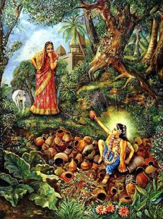 One day Sacidevi found Nimai sitting on a heap of discarded clay cooking pots that were used in offerings...