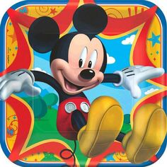 Everybody's favorite mouse serves up big birthday fun in this cheery Mickey & Friends birthday paper tableware and party accessories featuring Mickey Mouse against a colorful background. Coordinating Mickey & Friends Dinner Size paper plates are perfectly sized for light meals and includes 8 plates per package with each measuring 9in square.