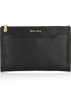 Miu Miu|Grained-leather clutch |NET-A-PORTER.COM