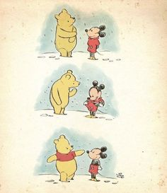 This is so pure. Winnie the Pooh and Mickey mouse get their iconic outfits. Humor Disney, Funny Disney Memes, Funny Memes, Cute Disney Quotes, Disney Puns, Disney Amor, Disney Magic, Disney E Dreamworks, Disney Pixar
