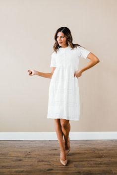 Rustic Wedding Dresses, Modest Wedding Dresses, Cute Dresses, Cute Outfits, Wedding Ideas, White Long Sleeve Dress, White Dress, White Bridal Shower Dress, Anniversary Dress