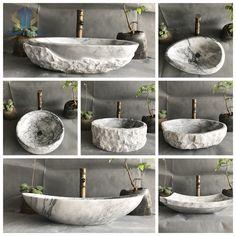Bathroom Sink Bowls, Stone Bathroom Sink, Modern Bathroom Sink, Concrete Bathroom, Stone Sink, Modern Bathroom Design, Bathroom Interior, Interior Design Living Room, Xiamen