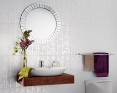 Laura Ashley Cottonwood Feature Wall Tile - the stunning design certainly adds the wow factor to any bathroom, the effortless style and sheer decorative pattern provides a beautiful feature for any bathroom