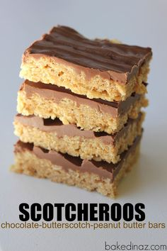 Scotcheroos - Baked in AZ No Bake Treats, Yummy Treats, Sweet Treats, Yummy Food, Peanut Butter Squares, Peanut Butter Bars, Gf Recipes, Dessert Recipes, Desserts