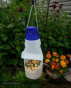 Super simple bird feeder using an empty @InternationalDelight creamer container #whatsyourid