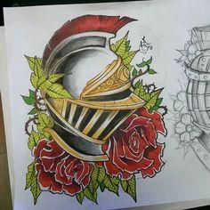 Knights helmet flash finished #knightshelmet #helmet #knight #fantasy #tattooflash #tattoo #neotraditional #apprenticesig #apprentice #newschool #promarkers #illustration