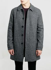 GREY REWORKED HOUNDSTOOTH WOOL BLEND MAC WAS $180.00 20% OFF JACKETS AND COATS