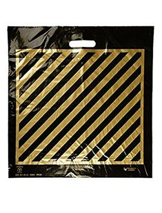 """""""WOW..1 penny Shipping!!!""""- 100 Extra-Large size Bags, Size:20x20x5, Die-Cut Black with Gold Stripes Plastic Shopping Bags, $31.99 per 100, 31.9 cents per bag. Review Disposable Gloves, Disposable Cups, Take Out Containers, Plastic Shopping Bags, Food Service Equipment, Gold Stripes, Die Cutting, The 100, Black"""