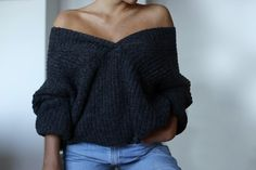off the shoulder sweater and jeans. simple and cute fall outfit.