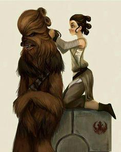 Chewie and Rey. We love this here at www.jedirobeamerica.com