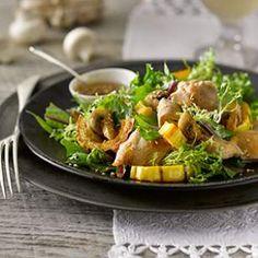 Mushroom, Squash & Chicken Salad with Sesame Dressing Recipe