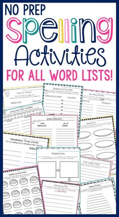 SPELLING ACTIVITIES for ALL WORD LISTS that are NO PREP FOR YOU! Over 30…