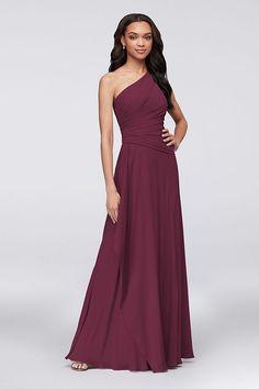 b2ed21e9e7c One-Shoulder Georgette Cascade Bridesmaid Dress Style F19832