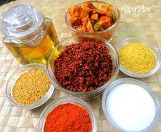 Maayeka: Gujrati Pickle Masala Kashmiri red chilli powder-1 and 1/4 cup Methi(fenugreek) kuria -1/2 cup* Whole pepper corns- 2 tbsp Rai kuria-1 cup* Salt-3/4 cup Asafoetida- 2 tbls Turmeric -2 tbls Mustard oil-1 cup Fennel seeds(crushed)-1/4 cup(optional) *