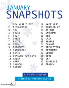 January Snapshots daily theme list