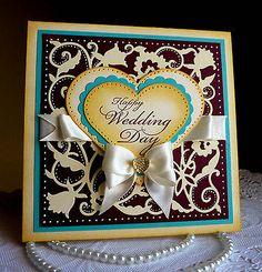 "Stampin up! CottageCutz - Handmade ""Happy Wedding Day"" card - NEW 2014 Design"