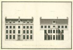 Architectonische ontwerptekening van de voor- en achtergevel van het huis Kops te Haarlem, Abraham van der Hart, 1790