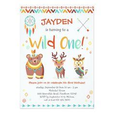 Wild One Birthday Invitation, Tribal Woodland Card