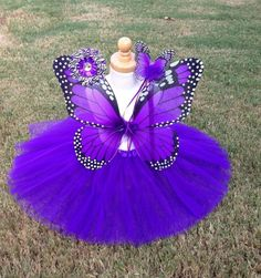 Monarch Butterfly Costume Wings Wand Tutu HairClip Halloween Girl 2-5T PURPLE
