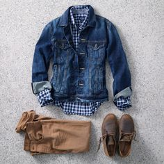 Men's tobacco colored chinos, checkered navy blue shirt, denim jacket
