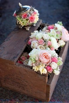 Wood box with flowers