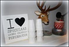 Tekststicker I love Speculaas, warme chocolade, pepernoten