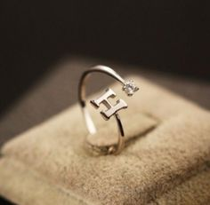 Letter H With Crystal 925 Sterling Silver Rings Jewelry Open Rings For Women Jewelry Silber Ring Anillo de plata