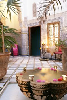 Riad Enija in Marrakech, Morocco. It is an exotic boutique hotel located in Marrakech, Morocco. The place is 280 years old that used to belong to a wealthy Moroccan silk merchant Moroccan Design, Moroccan Decor, Moroccan Style, Moroccan Bathroom, Design Marocain, Style Marocain, Patio Interior, Interior And Exterior, Ethno Design