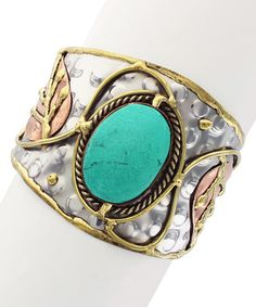 Look what I found on #zulily! Silvertone & Turquoise Hammered Leaf Cuff #zulilyfinds
