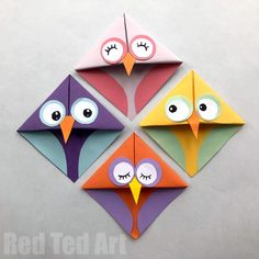 Cute and Easy Owl Crafts for Kids - Red Ted Art - Easy Owl Origami Bookmarks – learn how to make origami bookmark owls. Adorable Paper Owl Bookmarks based on the traditional easy Origami Bookmark Corner pattern! Origami Ball, Origami Rose, Instruções Origami, Origami Star Box, Origami Stars, Kids Origami, Dollar Origami, Origami Ideas, Origami Flowers
