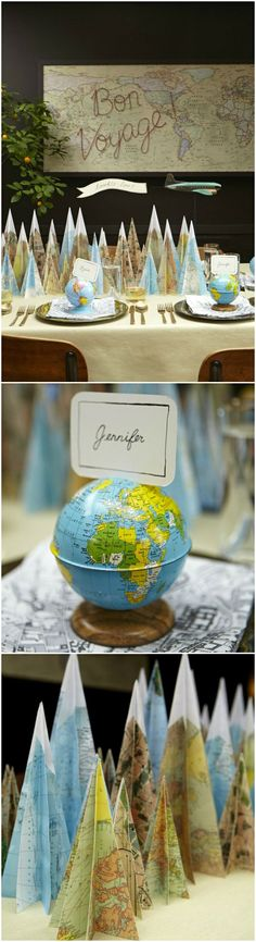Small globes make cute DIY place card holders for a travel-themed wedding!