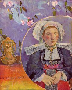 Paul Gauguin.  La belle Angèle. 1889, Öl auf Leinwand, 92 × 73 cm. Paris, Musée d'Orsay. Synthetismus. Frankreich. Postimpressionismus.  KO 01422