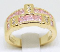 Pink Sapphire .66 Carat White Topaz 14k Yellow Gold Filled Ring US Size 9 #Cocktail