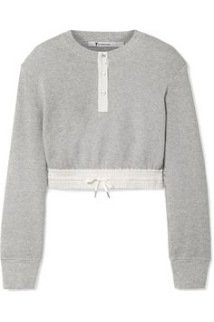 1d8a769883e60 T by Alexander Wang - Cropped Striped Poplin-trimmed Waffle-knit Cotton  Sweater - Light gray