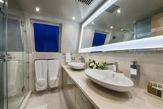 "The master bathroom onboard the incredible private superyacht ""Zenith"". Designed by ID Studios Pyrmont"