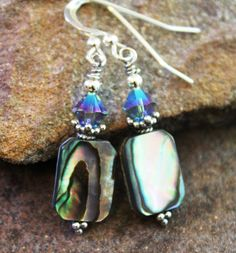 Paua Shell & Sterling Silver Earrings   Abalone by JensFancy
