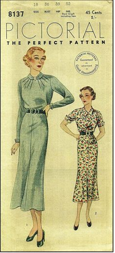 Pictorial Review #8137 - 1930s Ladies Dress in Two Styles - Sewing Pattern