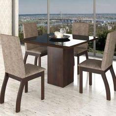 Conjunto De Mesa Para Sala De Jantar Deby Com Vidro Preto e 4 Cadeiras Nogueira/Dakota - Mesa de Jantar | Magazine Luiza
