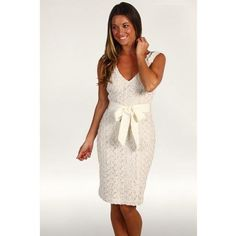 Badgley Mischka Cocktail Dress W/Belt Women's Dress - Ivory