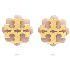 Tory Burch Logo Flower Resin Stud Earring ($68) ❤ liked on Polyvore featuring jewelry, earrings, tory burch, fancy earrings, resin earrings, button jewelry and polish jewelry