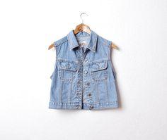 90s ARIZONA Denim Vest. Vintage Jeans. Rock Vest. by Only1Copy